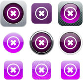 Delete cross purple app icons. — Stock Vector