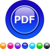 PDF circle button. — Stock Vector