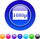 1080p circle button. — Stock Vector