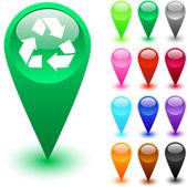 Botão de reciclagem. — Vetorial Stock