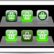 Stock Vector: Shopping cart green app icons.