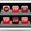 ZIP red app icons. — Stock Vector