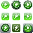 Power plug green app icons. — Vector de stock