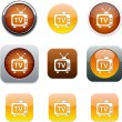 TV orange app icons. — Stock Vector