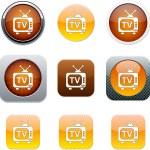 TV orange app icons. — Stock Vector