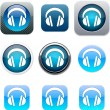 Headphones blue app icons. — Stock Vector
