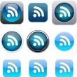 iconos RSS app azul — Vector de stock
