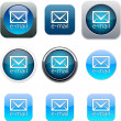 E-mail blue app icons. — Stock Vector