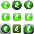 Pen green app icons. — Stock Vector