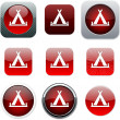 Tent red app icons. — Stock Vector