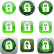 Lock green app icons. — Stock Vector