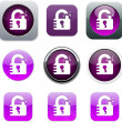 Stock Vector: Unlock purple app icons.