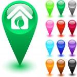 Green home button. — Stock Vector #6143248