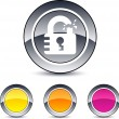 Unlock round button. - Stock Vector