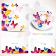 Royalty-Free Stock Vector Image: Cover design template of disk and business card. Butterfly desig