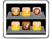Form and pen orange app icons. — Stock Vector
