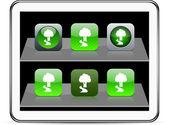 Tree green app icons. — Stock Vector