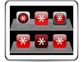 Asterisk red app icons. — Stock Vector