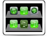 緑のバランスのアプリのアイコン. — ストックベクタ