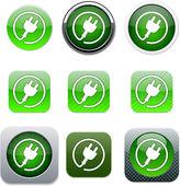 Power plug green app icons. — Stock Vector