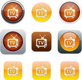 Tv oranje app pictogrammen. — Stockvector