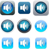 Sound blue app icons. — Stock Vector