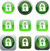 Lock green app icons. — Stock Vector