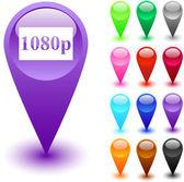 1080p button. — Stock Vector