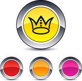 Crown round button. — Stockvektor