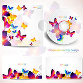 Cover design template of disk and business card. Butterfly desig — Stock Vector