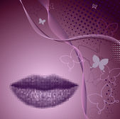 Beautiful abstract background with silhouette of women's lips — Stockvector