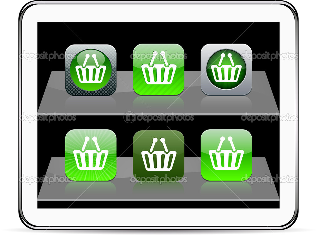 Shopping cart Set of apps icons. Vector illustration doesn't contain transparency and other effects. EPS8 Only. — Stock Vector #6143143