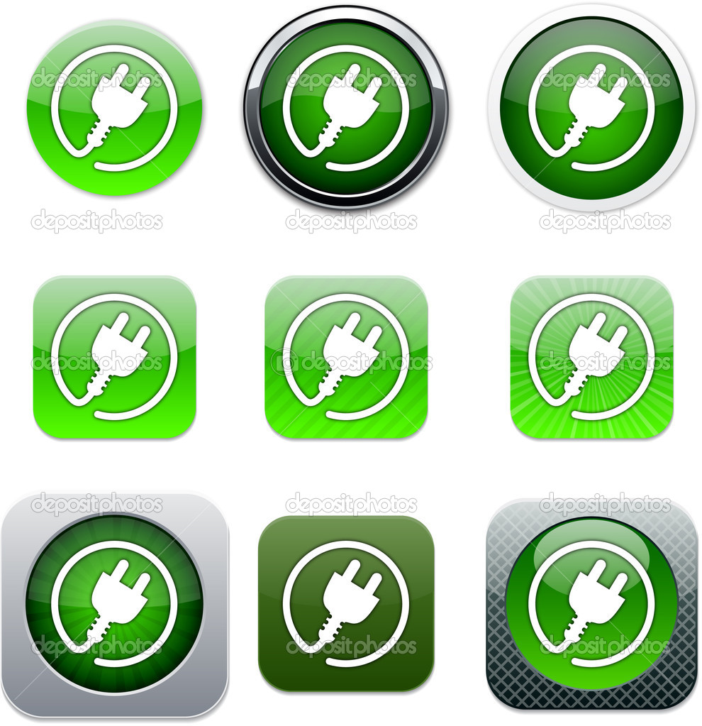 Power plug Set of apps icons. Vector illustration. — Stock Vector #6143176