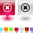 Delete cross square button. — Stock Vector