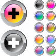 Plus multicolor round button. — Vector de stock