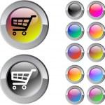 multicolor Runde Schaltfläche Warenkorb — Stockvektor