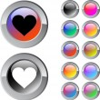 Heart multicolor round button. — Stock Vector