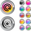 At multicolor round button. — Stock Vector