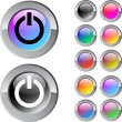 Power multicolor round button. — Vettoriali Stock