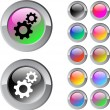 Tools multicolor round button. — Vector de stock