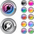 Power plug multicolor round button. — Vector de stock