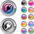 Stecker multicolor Runde Netzschalter — Stockvektor