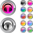 Headphones multicolor round button. — Stock Vector