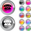 Free call multicolor round button. — Stock Vector