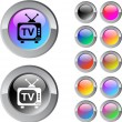 TV multicolor round button. — Stock Vector