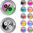 Percent multicolor round button. — Stock Vector