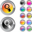 Zoom multicolor round button. — Stock Vector