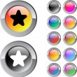 Star multicolor round button. — Vettoriale Stock