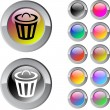 Stock Vector: Dustbin multicolor round button.