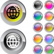 Planet multicolor round button. — Stock Vector